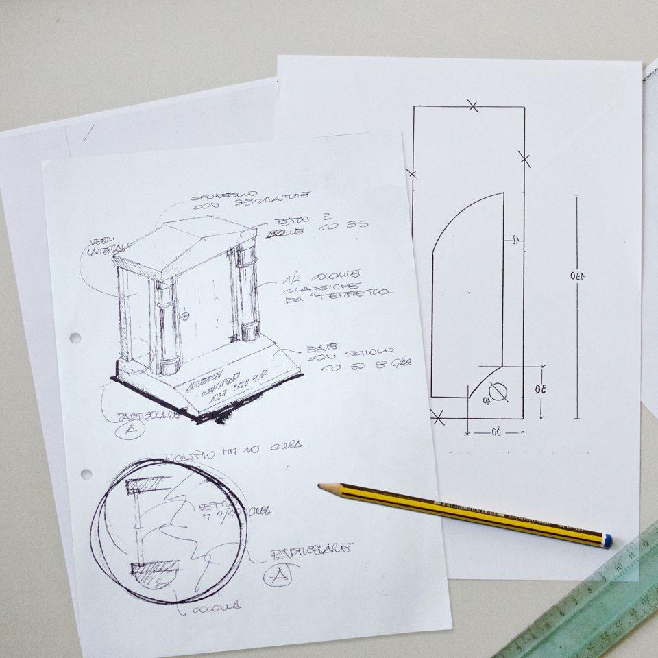 bozzetti e disegni per la progettazione di una tomba