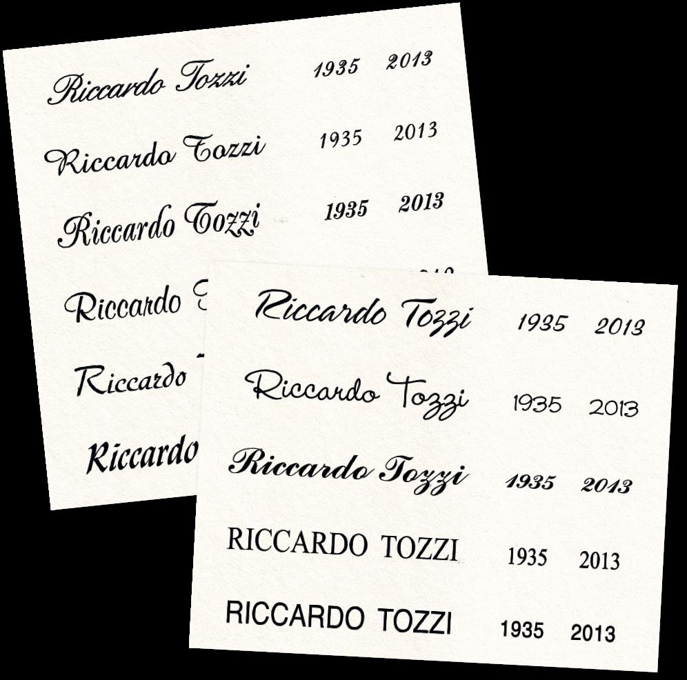 lista caratteri per incisione sulla lapide
